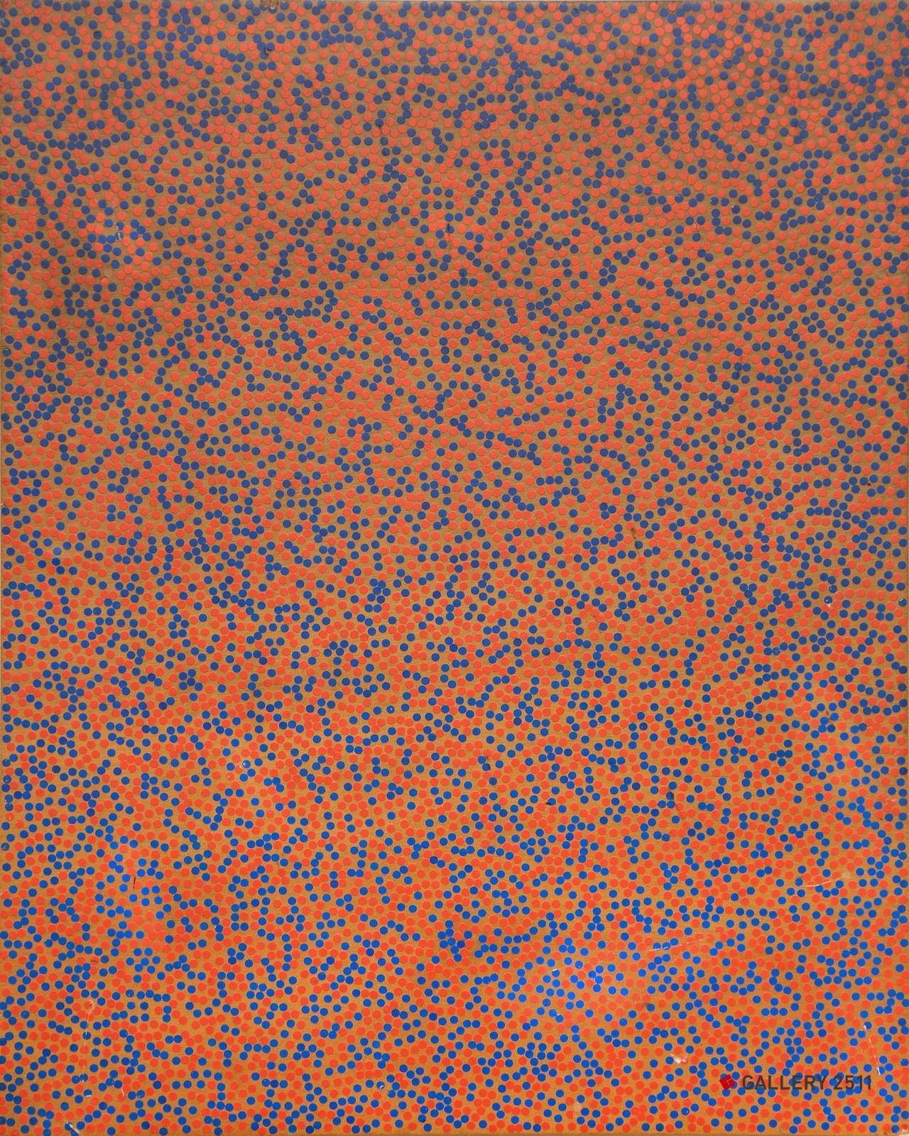 No.088 -「無題」  パネル、シール,  W320mm × H400mm, 1998