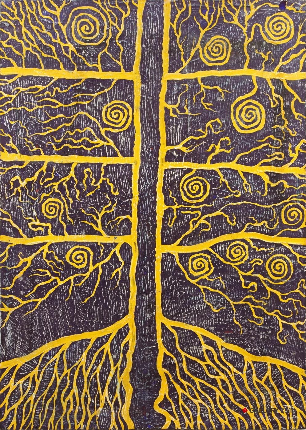No.002 -「生命の樹 #007」  Acrilic on Wood panel, W420mm× H595mm, 1998.07.04