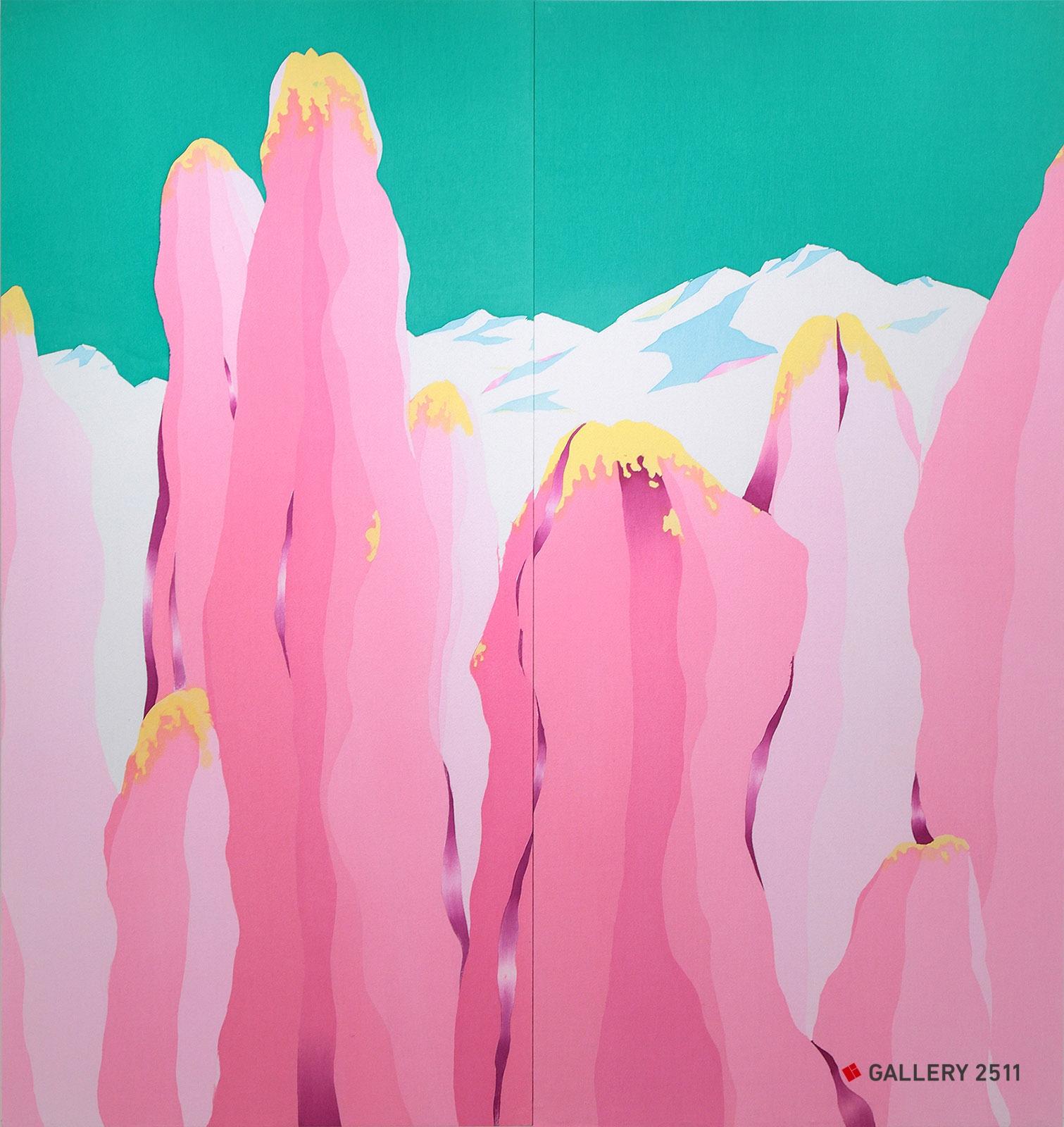 「Mon monde -cactus-」綿 / 臈纈染め、W1428mm × H1500mm